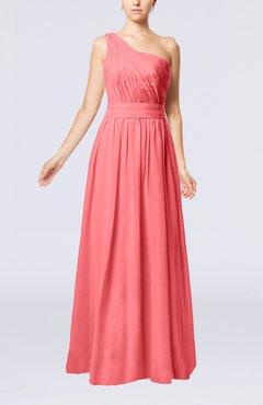 c5117424be2 Coral Modest Sleeveless Zipper Chiffon Floor Length Evening Dresses