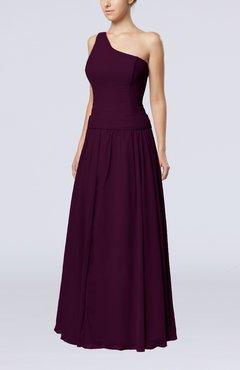 9cae90cca09 Plum Elegant Sheath Zipper Chiffon Floor Length Wedding Guest Dresses