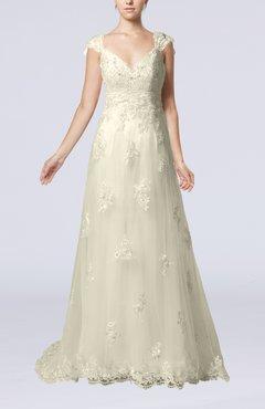 e02c5f856255 Cream Fairytale Outdoor A-line V-neck Zipper Organza Appliques Bridal Gowns
