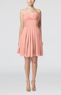 e450590b20 Peach Simple Sleeveless Zip up Chiffon Pleated Graduation Dresses