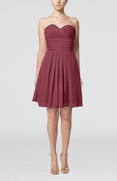 f439ff0d831 Wine Simple Sleeveless Zip up Chiffon Pleated Graduation Dresses