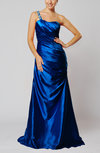 Elegant One Shoulder Sleeveless Silk Like Satin Floor Length Evening Dresses