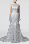 Modest Hall Sleeveless Backless Lace Bridal Gowns