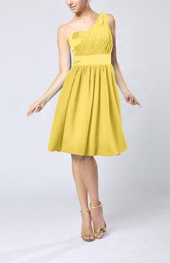 ba98b6772c Pale Yellow Modern A-line One Shoulder Sleeveless Chiffon Bridesmaid Dresses