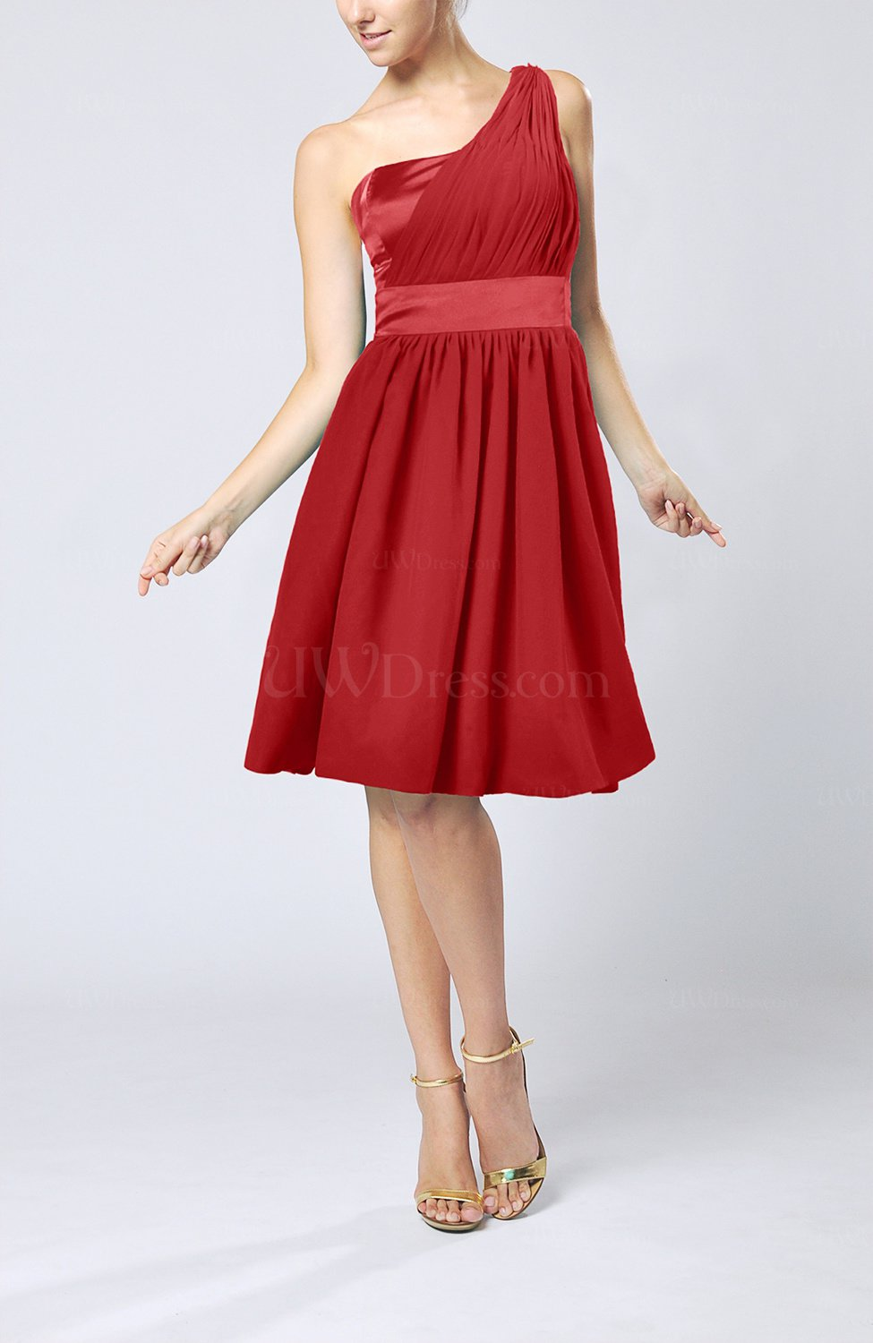 5841f642a2ad5 Red Modern A-line One Shoulder Sleeveless Chiffon Bridesmaid Dresses ...