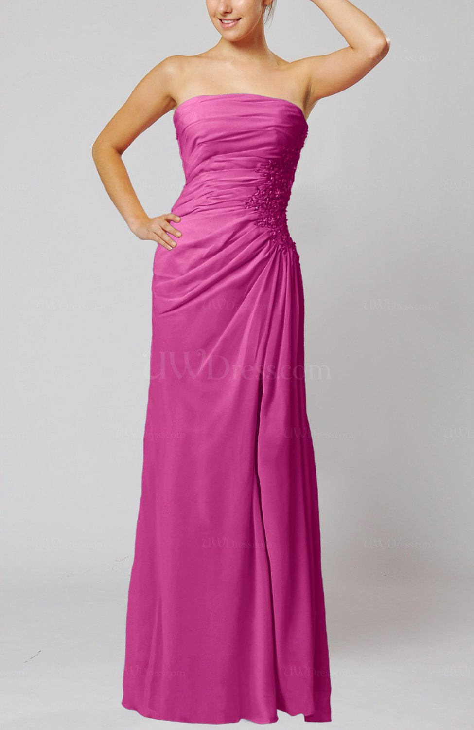 fb786391f7 Hot Pink Elegant Sheath Sleeveless Zip up Floor Length Bridesmaid Dresses  (Style D94572)