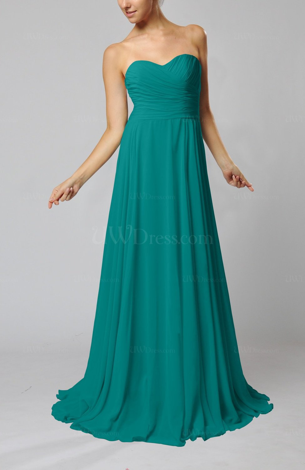 5a041a41f70 Emerald Green Simple Sheath Sweetheart Zip up Sweep Train Ruching Wedding  Guest Dresses (Style D95824)