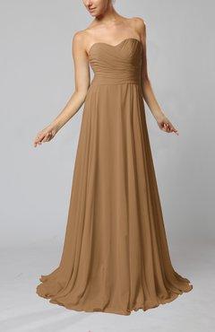 0d5a44ea33 Indian Tan Simple Sheath Sweetheart Zip up Sweep Train Ruching Wedding  Guest Dresses