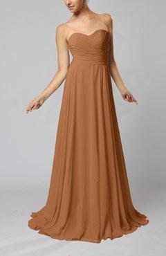 bfaddfede416 Light Brown Simple Sheath Sweetheart Zip up Sweep Train Ruching Wedding  Guest Dresses