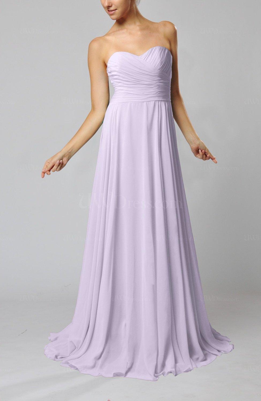 Light Purple Simple Sheath Sweetheart Zip Up Sweep Train Ruching Wedding Guest Dresses