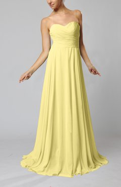 af501ff69a5 Pastel Yellow Simple Sheath Sweetheart Zip up Sweep Train Ruching Wedding  Guest Dresses