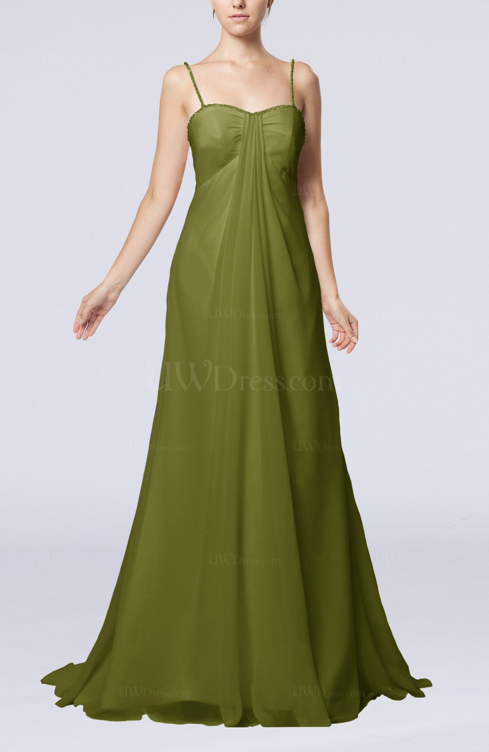 5789e15461bd0 Olive Green Elegant Destination Empire Sleeveless Backless Chiffon Sweep  Train Bridal Gowns (Style D27904)