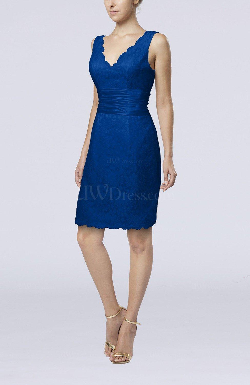 Royal Blue Casual V Neck Sleeveless Backless Knee Length Bridesmaid Dresses Uwdress Com