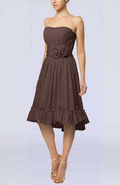 7b44c9269594 Chocolate Brown Romantic A-line Sweetheart Zip up Chiffon Knee Length  Homecoming Dresses
