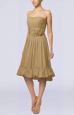 b85847873372 Indian Tan Romantic A-line Sweetheart Zip up Chiffon Knee Length Homecoming  Dresses