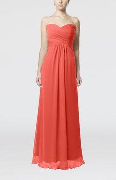 4cf2cacf09a Living Coral Simple Empire Sweetheart Zipper Ruching Bridesmaid Dresses
