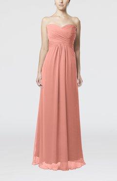 d111685afc Peach Simple Empire Sweetheart Zipper Ruching Bridesmaid Dresses