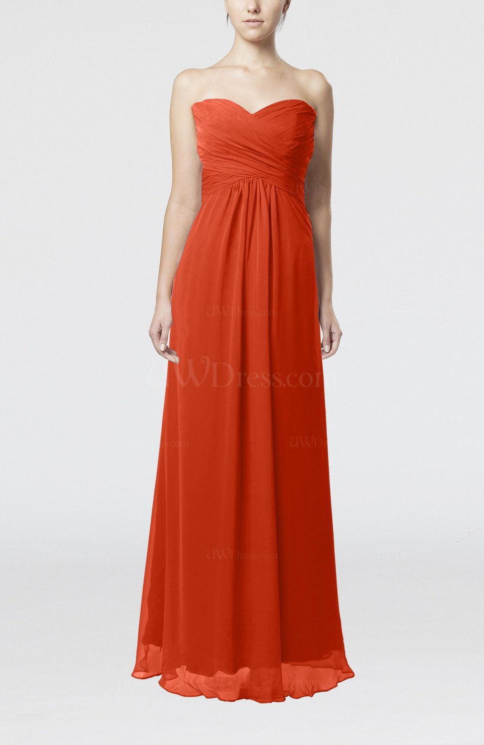 03232d339a6 Rust Simple Empire Sweetheart Zipper Ruching Bridesmaid Dresses (Style  D31922)