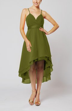 26bef1a2ea7 Olive Green Modern A-line Sleeveless Zipper Chiffon Hi-Lo Party Dresses