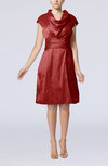 Modern Jewel Short Sleeve Taffeta Knee Length Bridesmaid Dresses