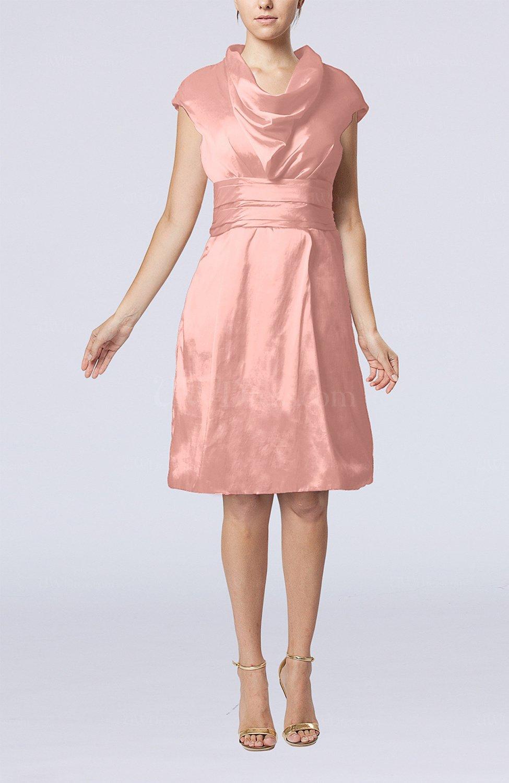 Pastel Pink Modern Jewel Short Sleeve Taffeta Knee Length Bridesmaid Dresses Style D45885: Pink Knee Length Wedding Dresses At Reisefeber.org