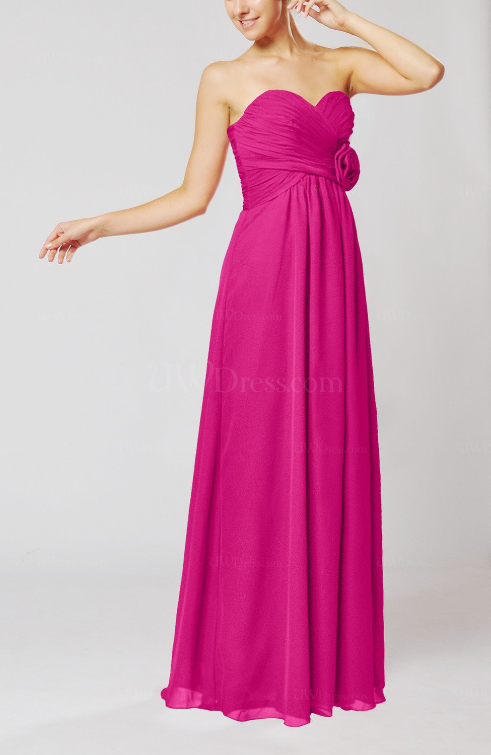 a6ee772848 Hot Pink Simple Sheath Sweetheart Sleeveless Chiffon Floor Length Bridesmaid  Dresses (Style D36653)
