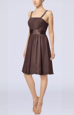 042fe778170 Chocolate Brown Plain A-line Spaghetti Chiffon Mini Sash Wedding Guest  Dresses