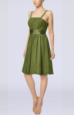 a76fb6eb834 Olive Green Plain A-line Spaghetti Chiffon Mini Sash Wedding Guest Dresses