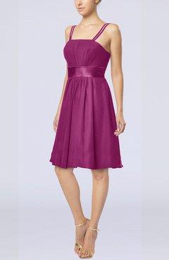 f13e565a76f Raspberry Plain A-line Spaghetti Chiffon Mini Sash Wedding Guest Dresses
