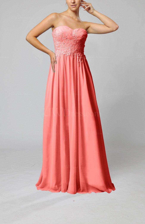 Coral Elegant Sleeveless Zip up Chiffon Pleated Wedding ...