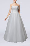 Fairytale Church A-line Sleeveless Lace up Beaded Bridal Gowns