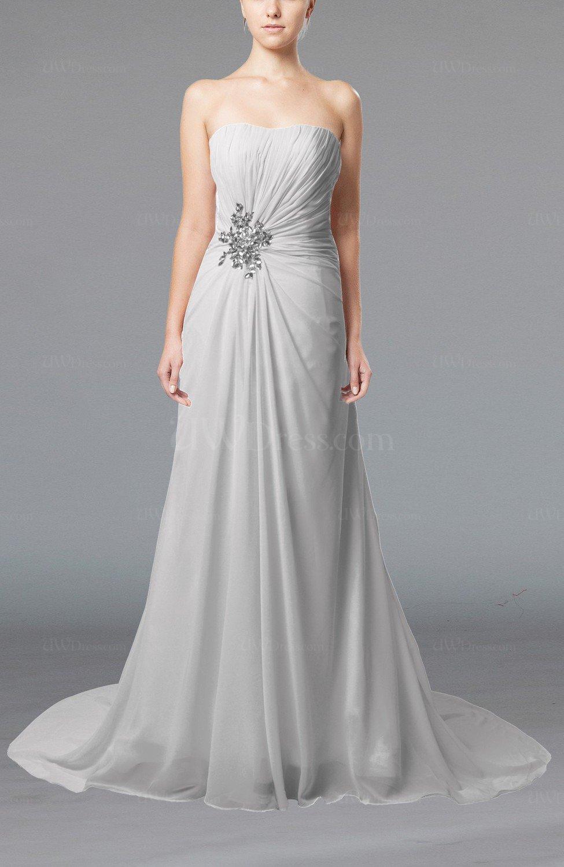 White Elegant Hall Column Strapless Sleeveless Lace Up
