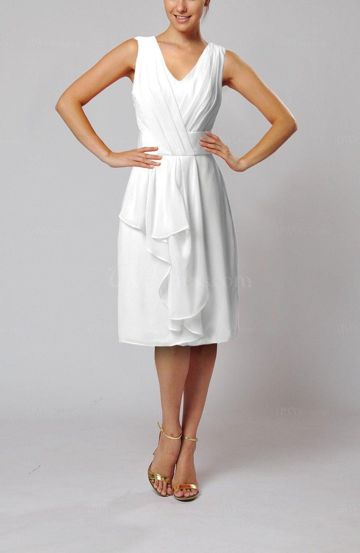 1bd3990970 White Romantic Column V-neck Chiffon Ribbon Wedding Guest Dresses ...