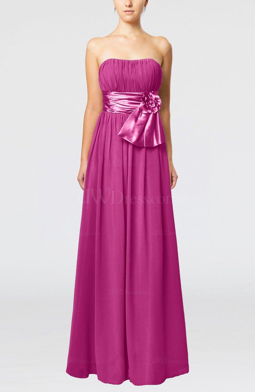 fa9b1d84155 Hot Pink Plain Column Zipper Chiffon Floor Length Wedding Guest Dresses  (Style D88701)