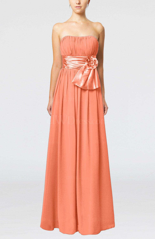 f96b0e63797d Living Coral Plain Column Zipper Chiffon Floor Length Wedding Guest Dresses  (Style D88701)