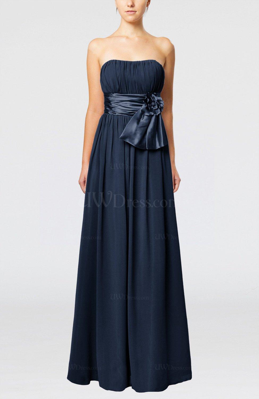 Navy Blue Plain Column Zipper Chiffon Floor Length Wedding Guest Dresses