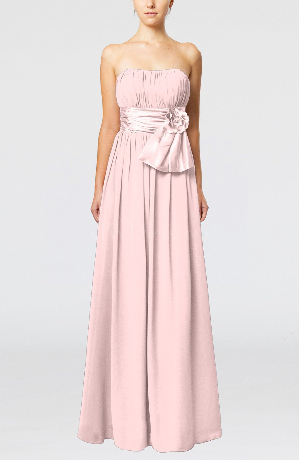 Pastel Pink Plain Column Zipper Chiffon Floor Length Wedding Guest