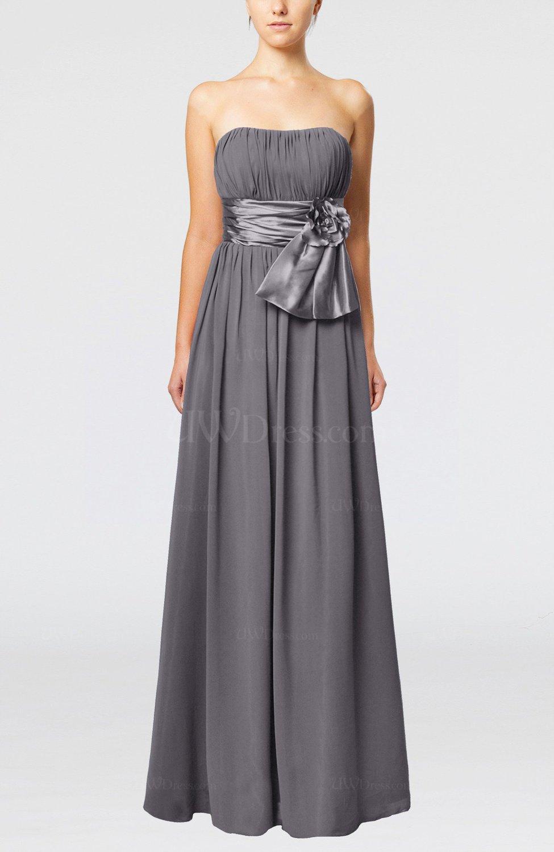 Ridge Grey Plain Column Zipper Chiffon Floor Length Wedding Guest Dresses