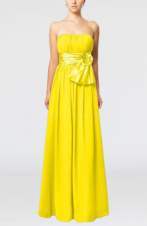 Yellow Plain Column Zipper Chiffon Floor Length Wedding Guest Dresses