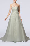 Glamorous Church A-line Strapless Court Train Bridal Gowns