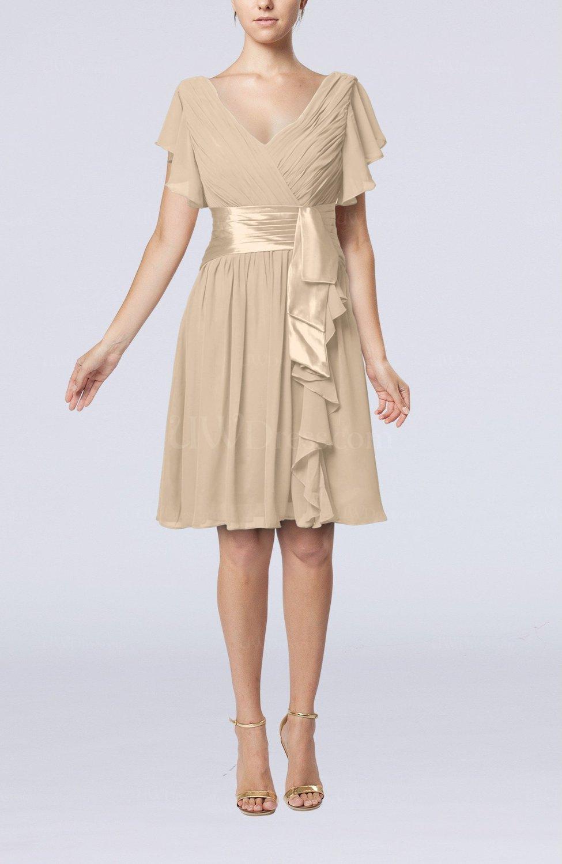 Champagne Romantic Short Sleeve Zip Up Knee Length Sash