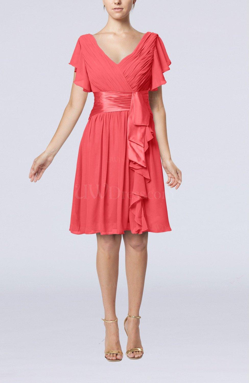 Coral Romantic Short Sleeve Zip Up Knee Length Sash Wedding Guest Dresses