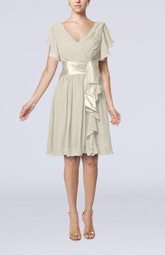 3f788b43128f Off White Romantic Short Sleeve Zip up Knee Length Sash Wedding Guest  Dresses