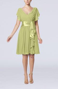 cb33670d857 Pistachio Romantic Short Sleeve Zip up Knee Length Sash Wedding Guest  Dresses