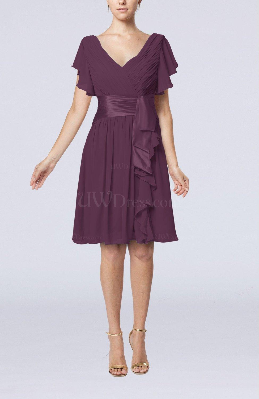 Plum Romantic Short Sleeve Zip Up Knee Length Sash Wedding