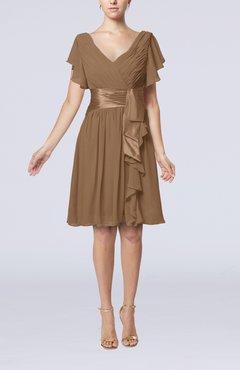 Truffle Short Sleeve Zip Up Knee Length Sash Wedding Guest Dresses