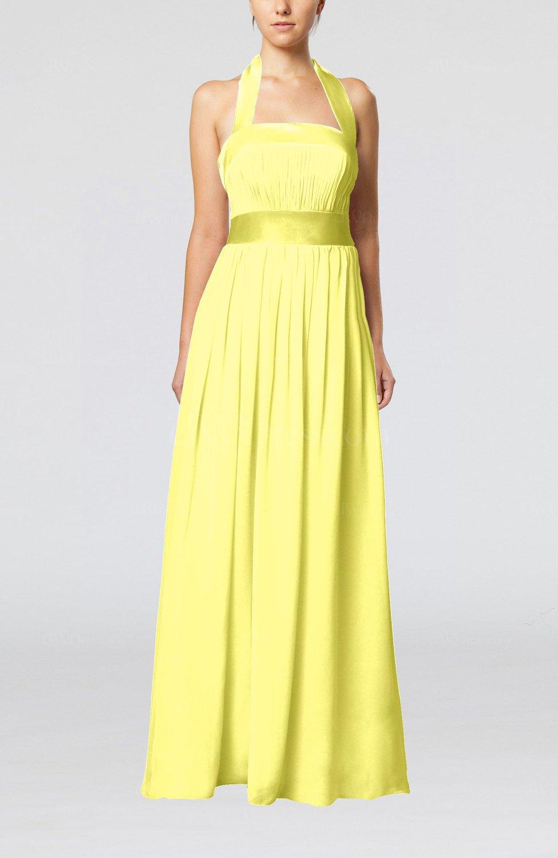 pale yellow elegant aline sleeveless chiffon floor length