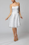 Informal Beach Strapless Sleeveless Knee Length Lace Bridal Gowns