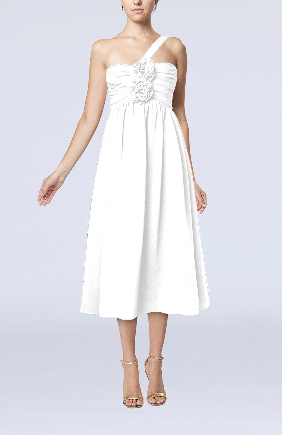 a052c931382 Cloud White Casual One Shoulder Sleeveless Chiffon Pleated Wedding Guest  Dresses (Style D57627)