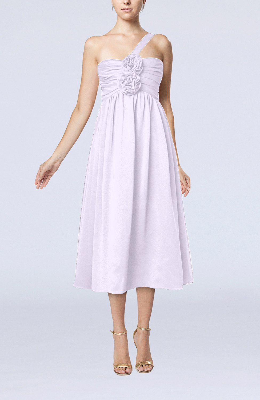 Light Purple Casual One Shoulder Sleeveless Chiffon Pleated Wedding Guest Dresses